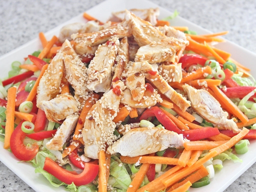 Salad with Noodles and Chicken: An ideal salad. Photo source: Judith Salecich 2018.