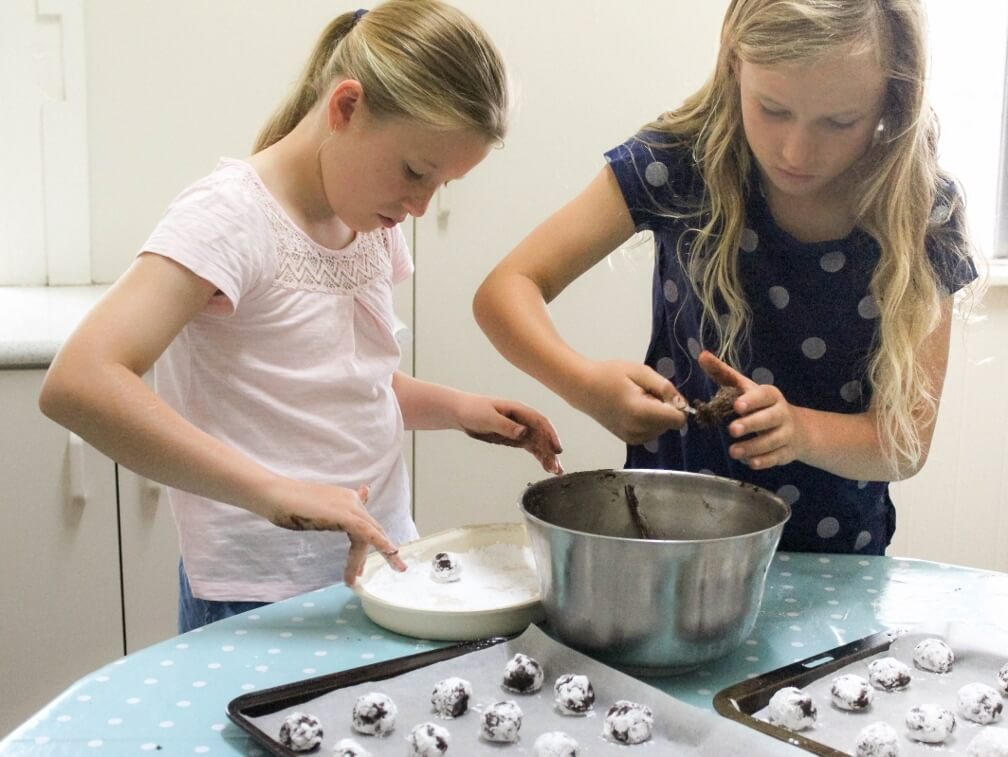 My granddaughters helped me make a second batch of Brotlaibchen this week. Photo source: Judith Salecich 2017.