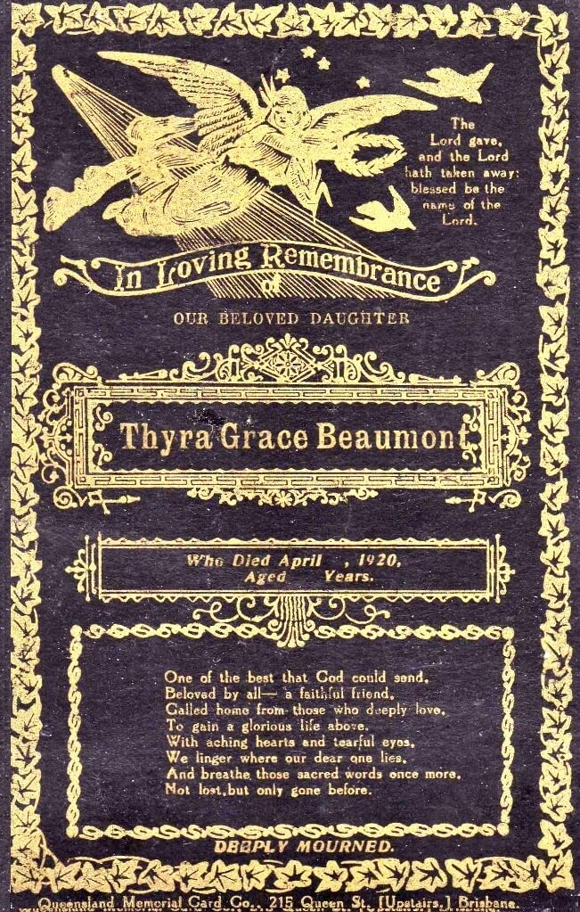 1920. Thyra Grace Beaumont's Memorial Card. Source: Beaumont Family archives.