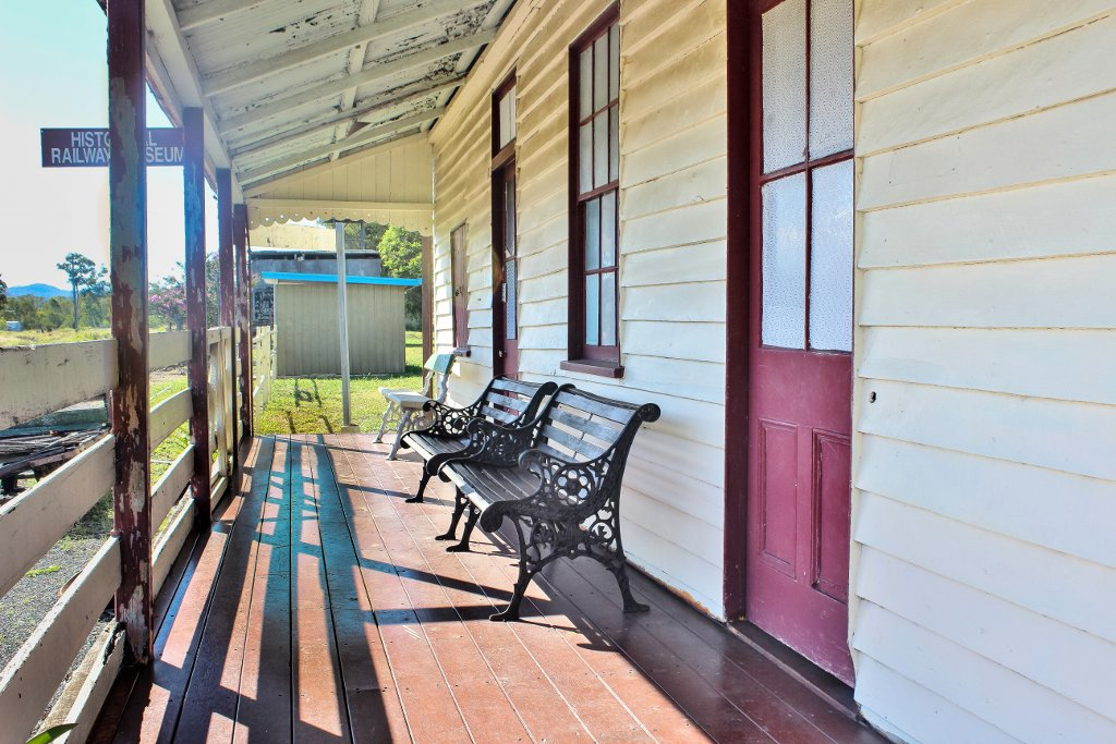 The timber verandah of the former Bogantungan Railway Station. Photo source: Salecich Family collection 2017.