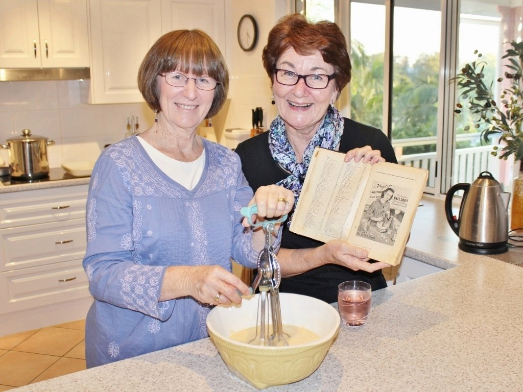 Preparing Nana's Impossible Pie with a dinner guest. Photo source: Tony Salecich 2018.