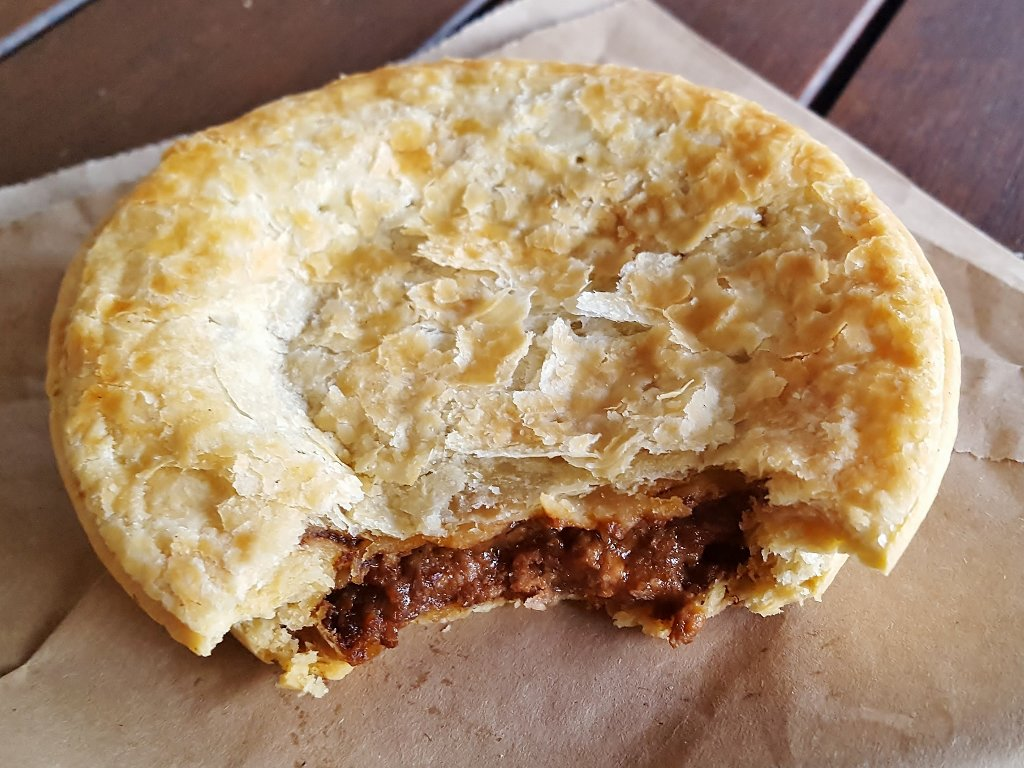 An Aussie meat pie, without peas. Photo source: Judith Salecich 2018.