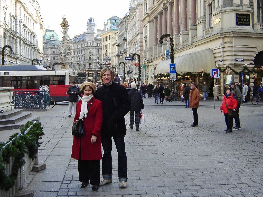 With my son during my first visit to Vienna at Christmastime, 2004. Photo source: Salecich Family archives.