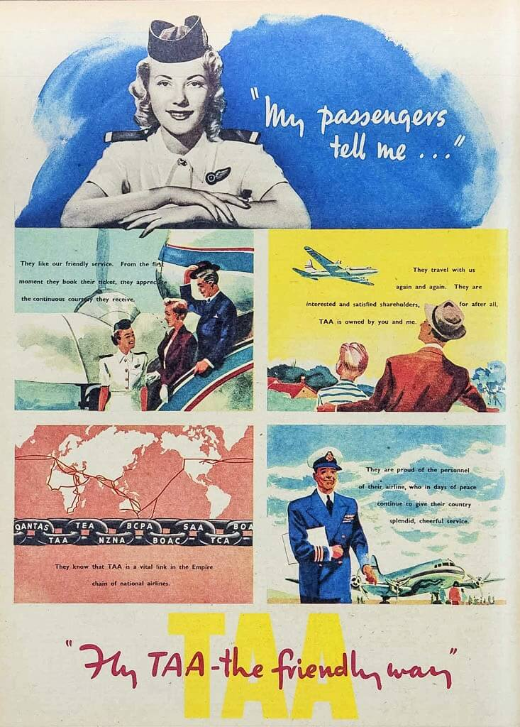 1940s advertisement for Trans Australia Airlines (TAA), Australian Women's Weekly, 13 March, 1948.