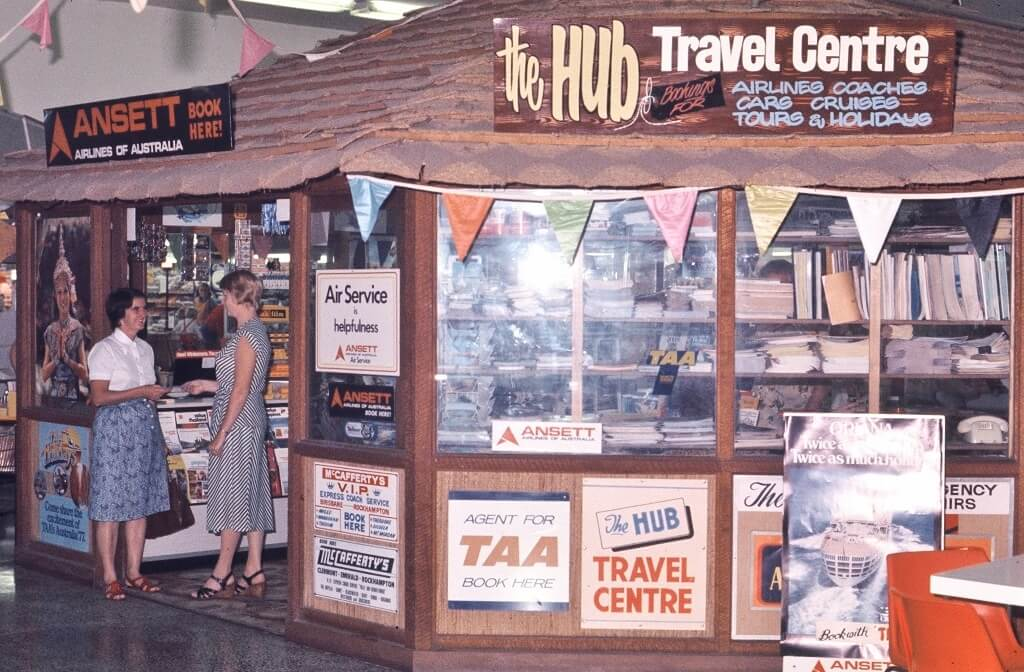 1974. The Hub Travel Centre opened in Rockhampton's Northside Plaza. Photo source: Proposch Family collection.
