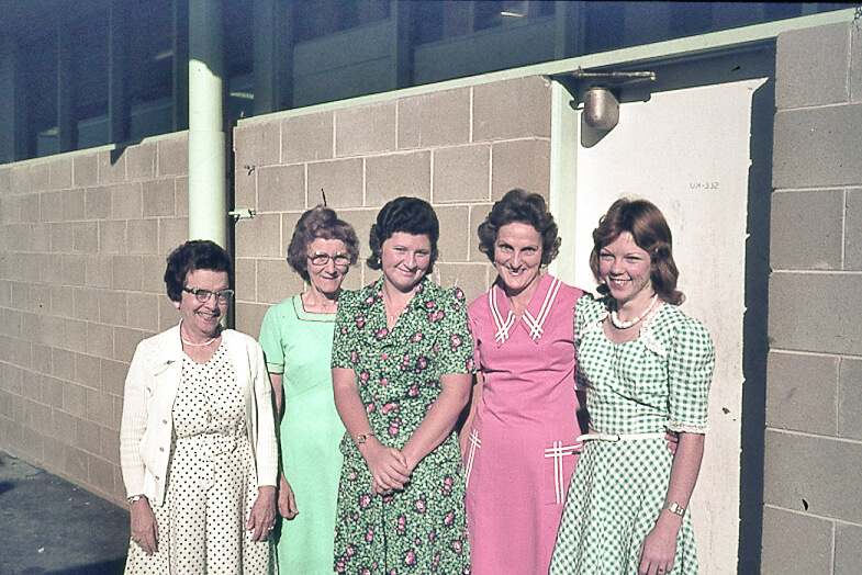 1977. Staff of The Hub Travel Centre, Northside Plaza, Rockhampton. Thelma Baker is pictured at left. Photo source: Proposch Family archives.