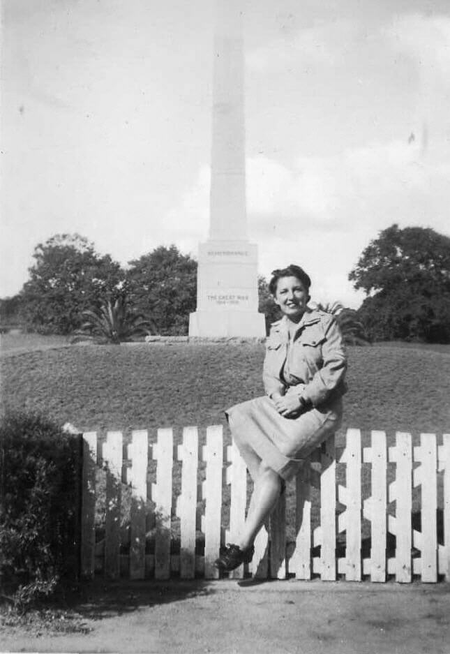 1944. My mother's WAAAF colleague, Corporal Mabs Davie, pictured in front of the Rockhampton War Memorial, Rockhampton Botanic Gardens. Photo source: Proposch Family collection.