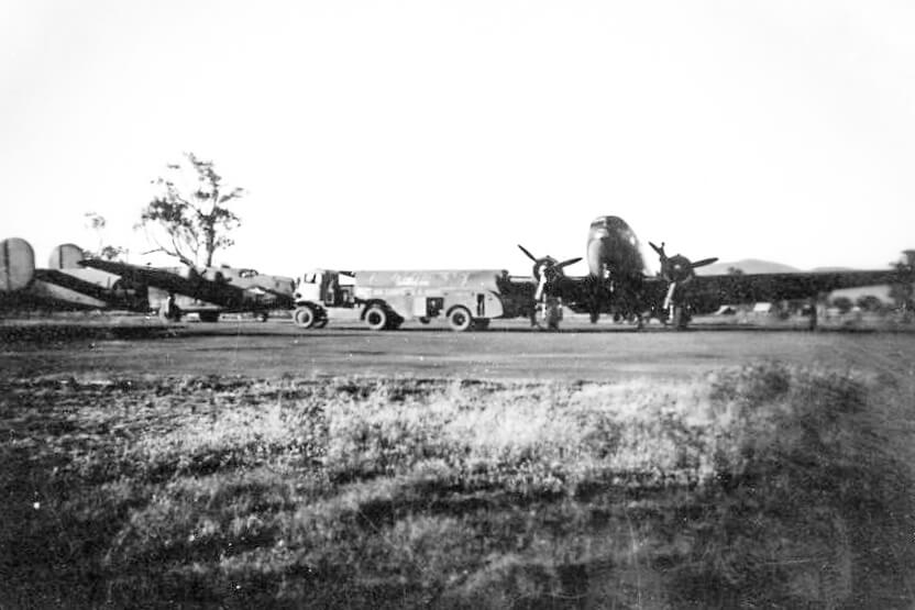 1944. RAAF 21 Operational Base Unit, Rockhampton. Airport dispersal area. Photo source: Proposch Family collection.