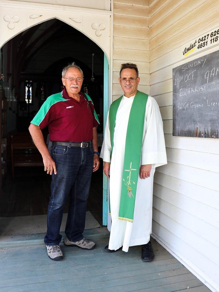 Rev Graeme Liersch and my husband, after a service at St Peter's, Barcaldine, 27 October 2019. Photo source: Judith Salecich 2019.