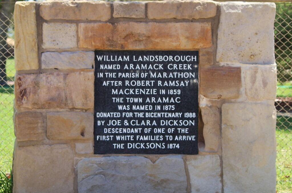 Historic marker cairn, Gordon Street, Aramac, Queensland. Photo source: Judith Salecich 2019.