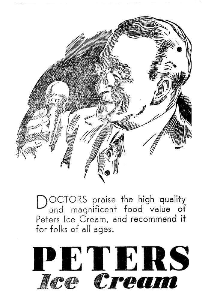 1934 Advertisement for Peters Ice Cream.