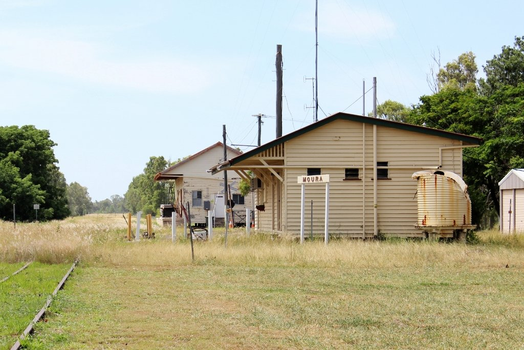 Former Moura Railway Station. This building still stands. Photo source: Judith Salecich 2018