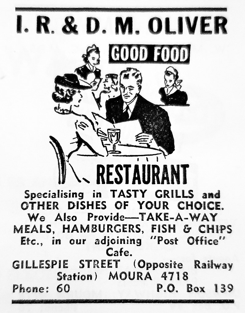 "1971 Advertisement: I R & D M Oliver ""Good Food"" Restaurant and Post Office Café. [6]"