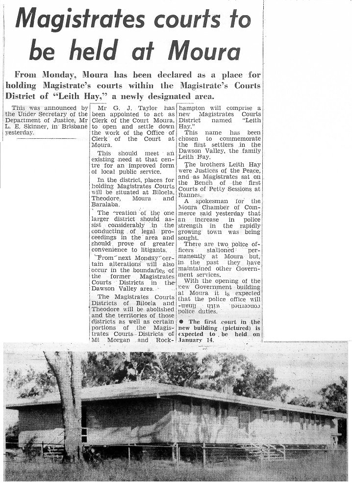 1971. Magistrates Courts to be held at Moura. [8]