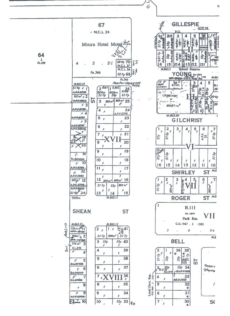 c. 1967. Moura Town Plan (showing main business district).