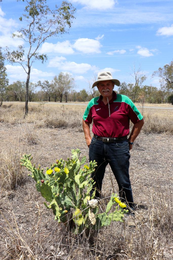 Tony beside a specimen of Opuntia stricta we found near Taroom, Banana Shire, Central Queensland. Photo source: Judith Salecich 2019.