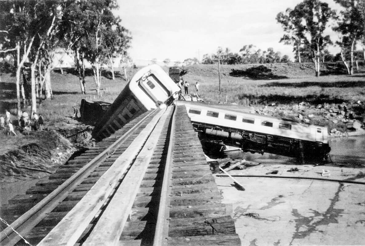 1960, 26 February. Medway Creek rail accident. Photo supplied by Barry Mason, relieving night officer at Alpha at the time of the accident. Barry drove to the crash site following the end of his shift that morning. This is another one of the photos he took.
