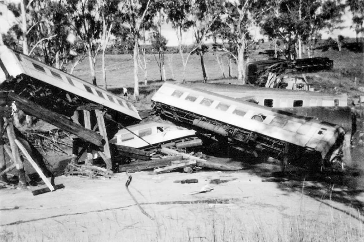 1960, 26 February. Medway Creek rail accident. Photo supplied by Barry Mason, relieving night officer at Alpha at the time of the accident. Barry drove to the crash site following the end of his shift that morning. This is one of the photos he took.