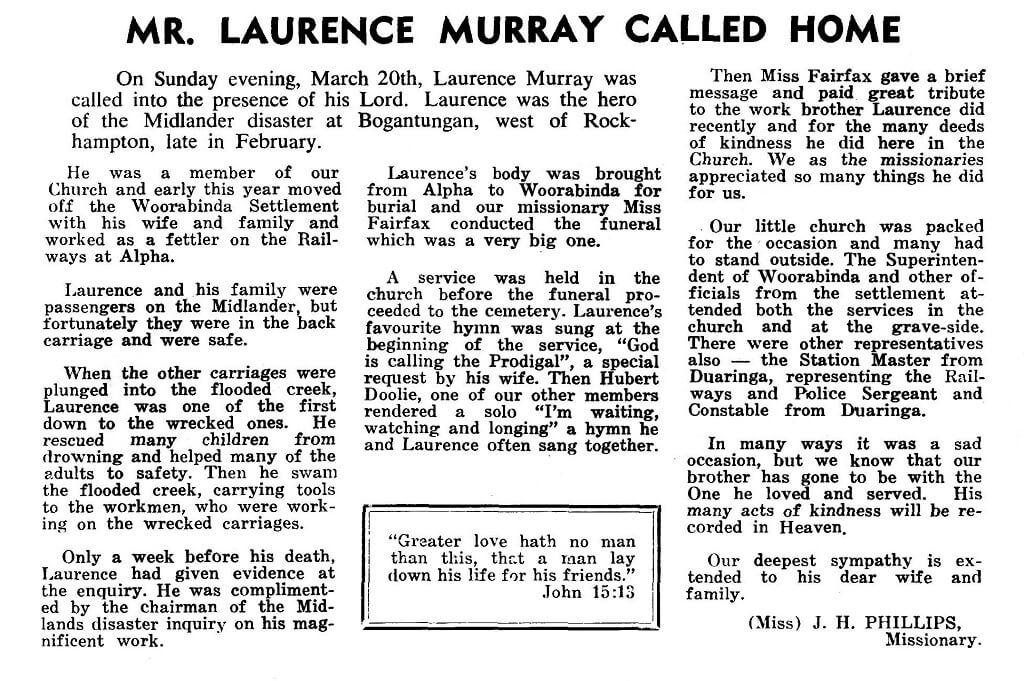 1960. Report in The Australian Evangel, May 1960.