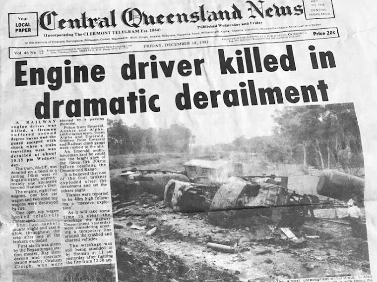 1981. Newspaper report of the fatal rail accident at Hannam's Gap. Copy supplied by Graham Creagh.