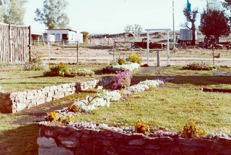 1981. The prize-winning gardens of the Bogantungan railway station complex. Photo supplied by Graham Creagh.