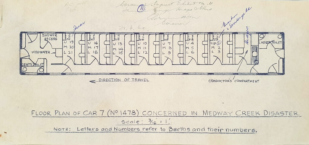 Floor plan of Car 7 concerned in Medway Creek Disaster. Source: Inquest File, Queensland State Archives. Public domain.