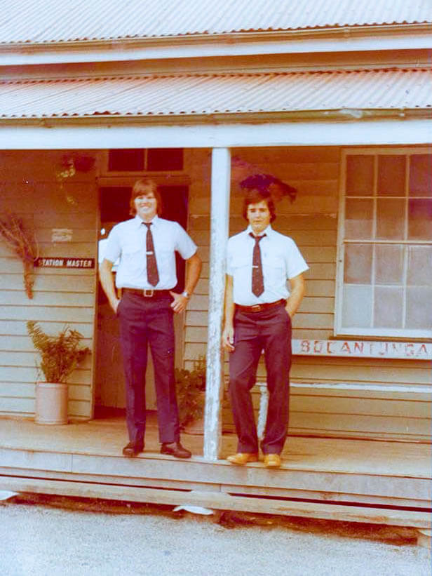 1981. Bogantungan station master Ray Henderson (left), and his assistant, Graham Creagh (right), in front of the Bogantungan Railway Station. Photo by courtesy of Graham Creagh.