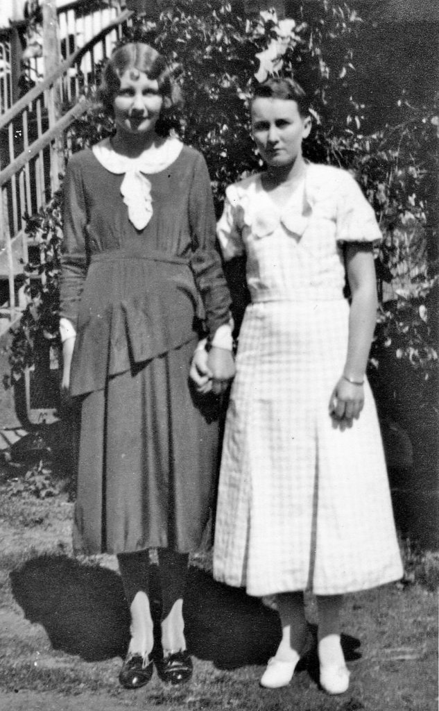 """1935. Rannes, Queensland. Evelyn in recovery after typhoid fever, with friend Olive (""""Ollie"""") Hansen, of Baralaba. Photo source: Beaumont Family archives."""
