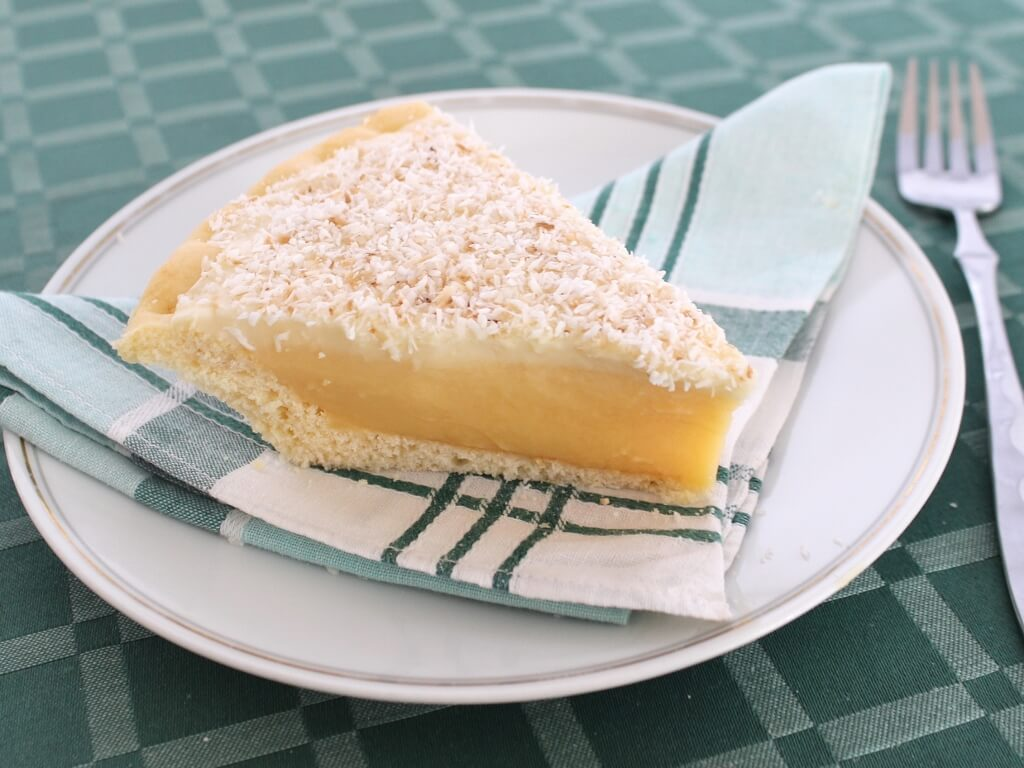 A slice of old-fashioned honey pie, made using Thelma Baker's Honey Pie recipe