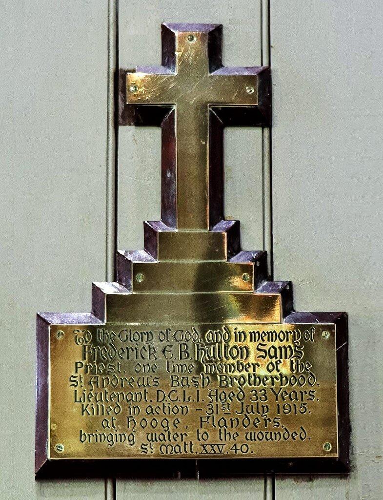 Memorial to Rev Frederick Hulton-Sams, St Peter's Church, Barcaldine. Photo source: Judith Salecich 2019.