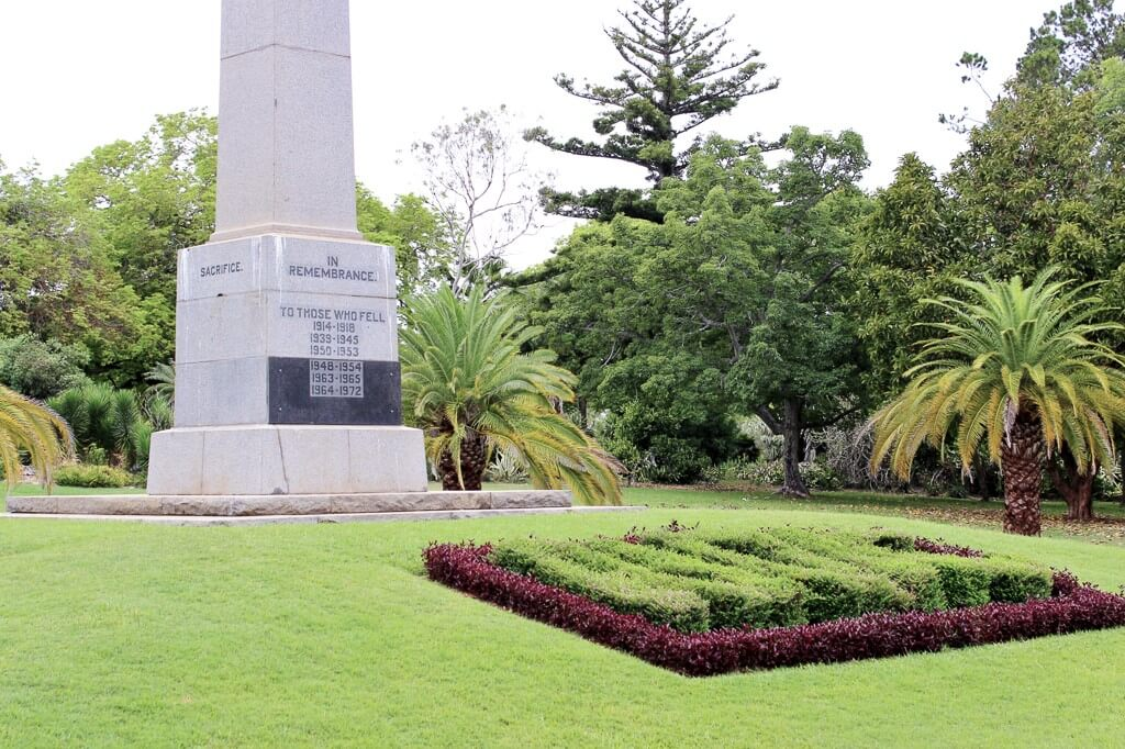 """Rockhampton War Memorial, showing front inscriptions and the word """"SACRIFICE"""" on side of column. Photo source: Salecich collection 2018."""