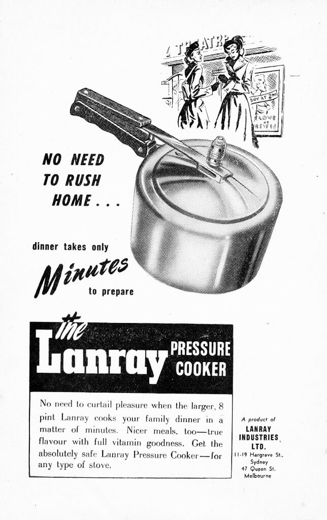1949 Advertisement for a Lanray pressure cooker. Image source: All Electric Cookery Book, page 20.