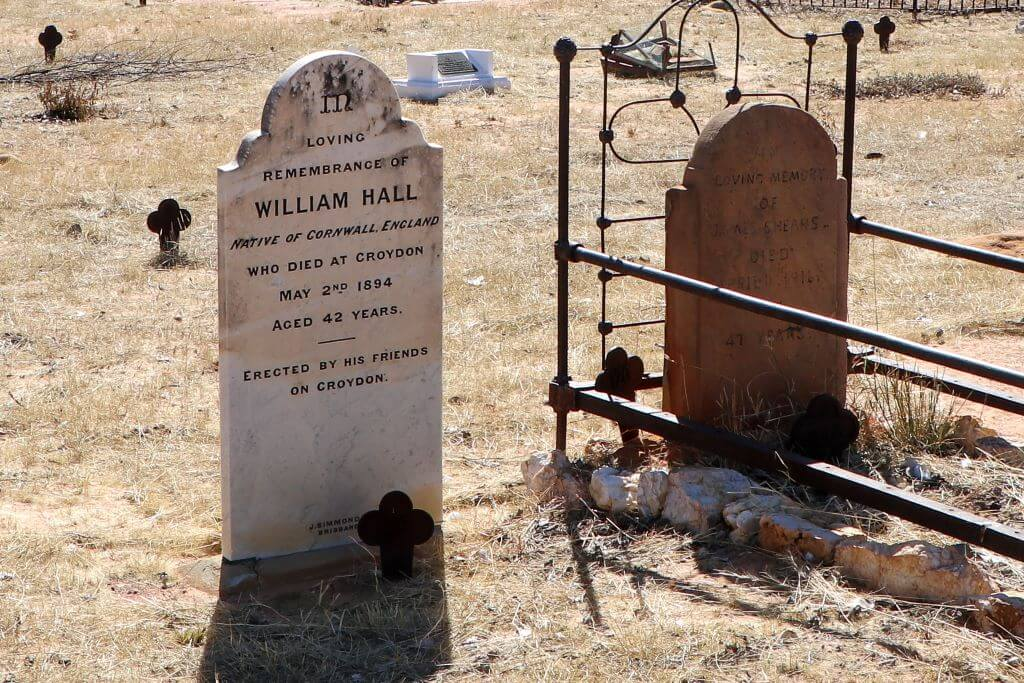 Croydon Cemetery: Grave and headstone of William Hall, who died in 1894.