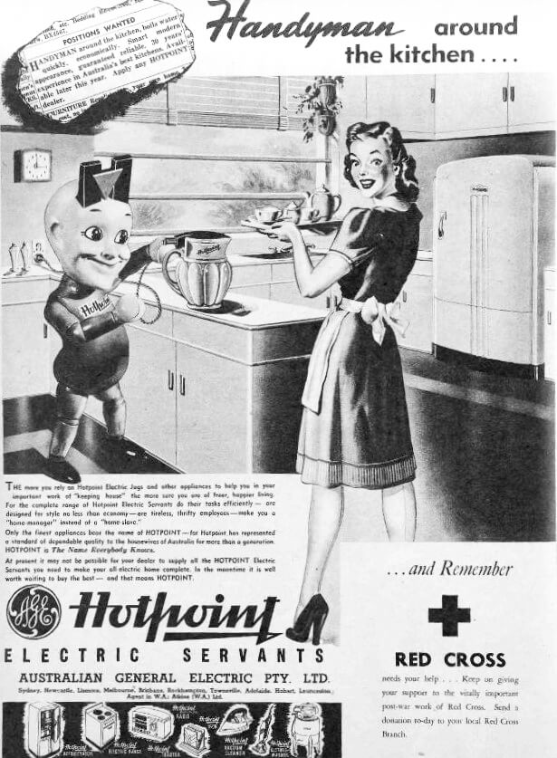 Hotpoint electric jug advertisement. The Australian Women's Weekly (1933 - 1982), Saturday 10 May 1947, page 2.