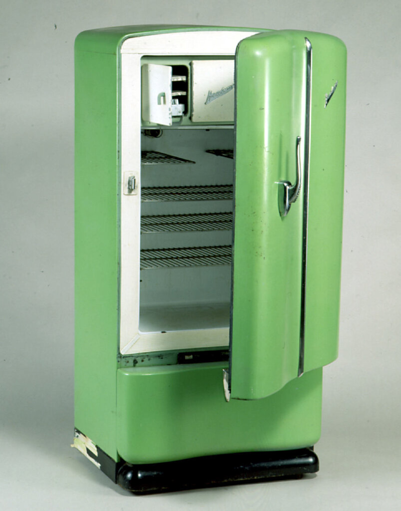 Refrigerator - Healing, Green. (1950s). Our family's first 'fridge was very similar to this one. Photo source: Museums Victoria. Copyright Museums Victoria. Used according to CC Attribution 4.0 International licence.