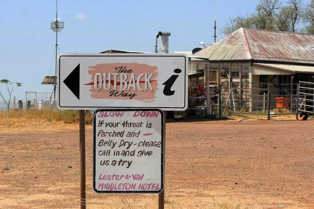 Middleton, Queensland: The Outback Way sign and welcome from the hosts of the Middleton Hotel.