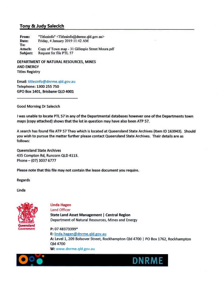 Reply letter from the State Titles Registry, Central Region Office.