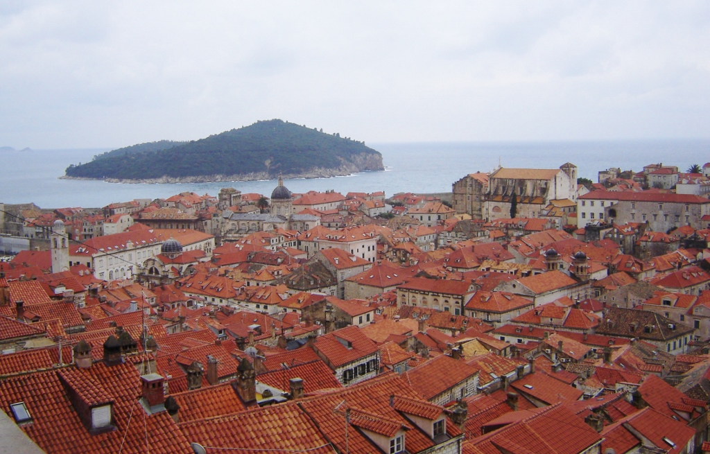 View of Old Town and Lokrum Island from northern wall, Dubrovnik.