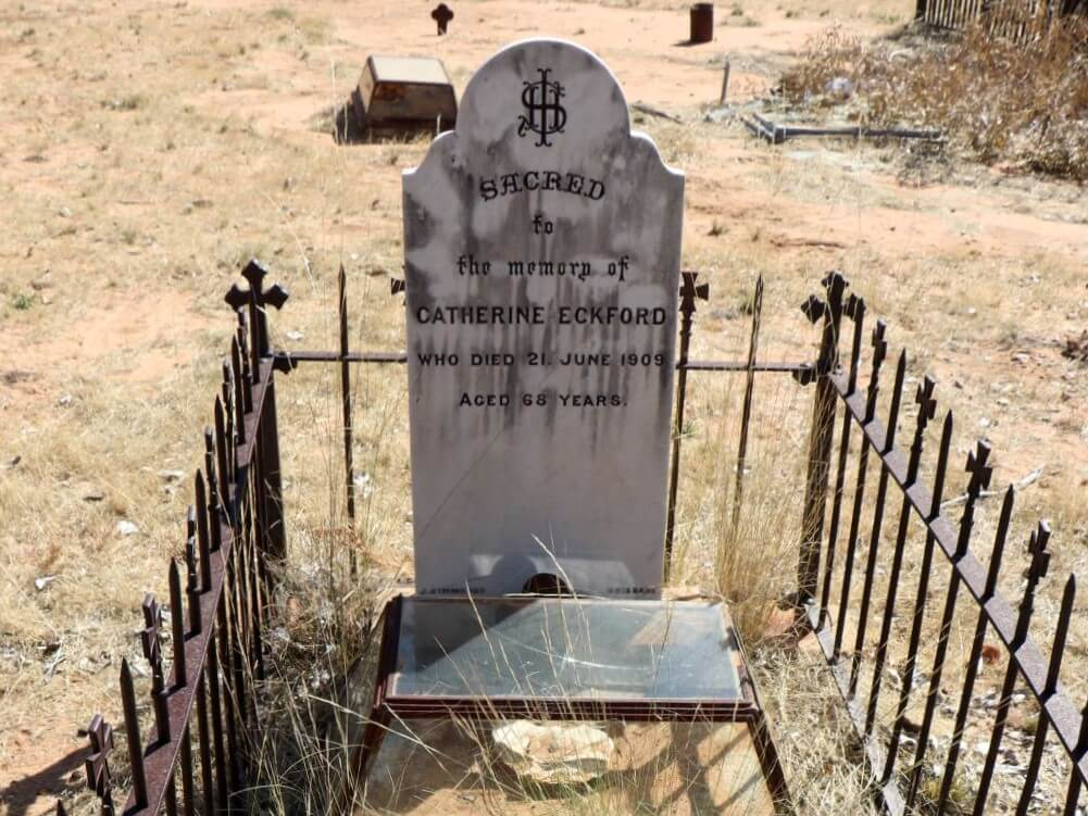 Croydon Cemetery: Grave and headstone of Catherine Eckford, died 1909.