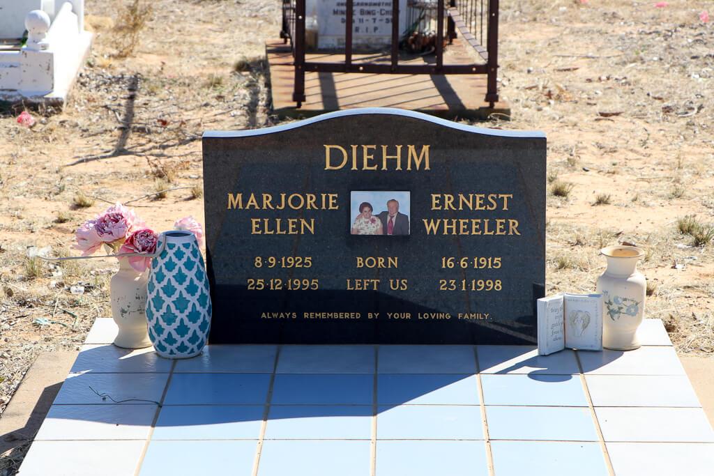 Croydon Cemetery: Headstone marking the graves of Marjorie Ellen Diehm (died 1995) and Ernest Wheeler Diehm (died 1998).