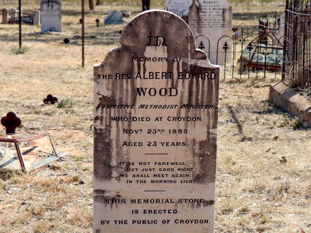 Croydon Cemetery: Headstone on the grave of Rev Albert Edward Wood, died 1889