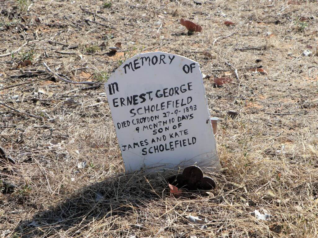 Croydon Cemetery, Section C: Headstone marking the grave of infant Ernest George Scholefield, died 1893.