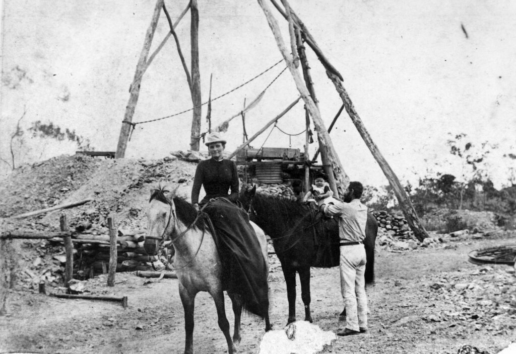 c. 1890. Mining family outside their mine, Croydon, Queensland. State Library of Queensland. Public domain.