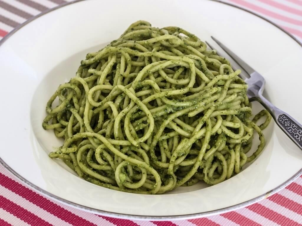 Spaghetti with Homemade Pesto. Photo source: Salecich collection 2020.