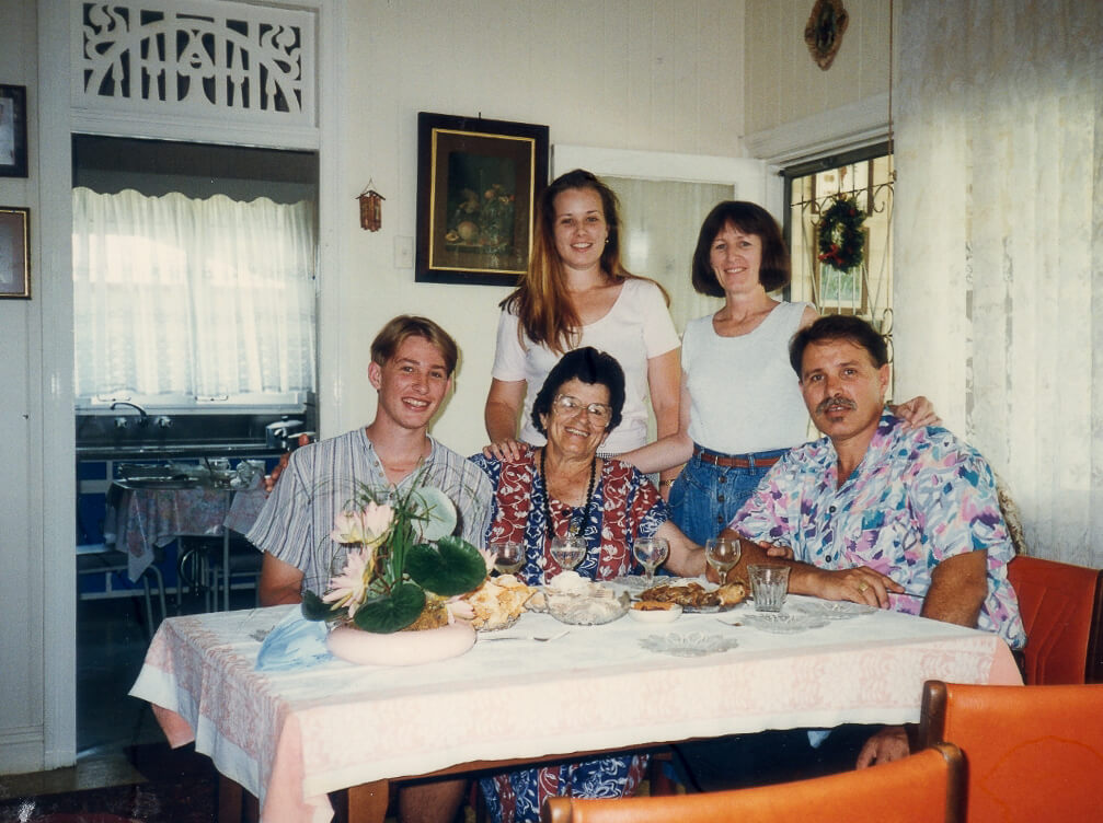 1996. Our family's Christmastime visit and meal with Mr and Mrs Bianchi. Photo source: Salecich Family collection.