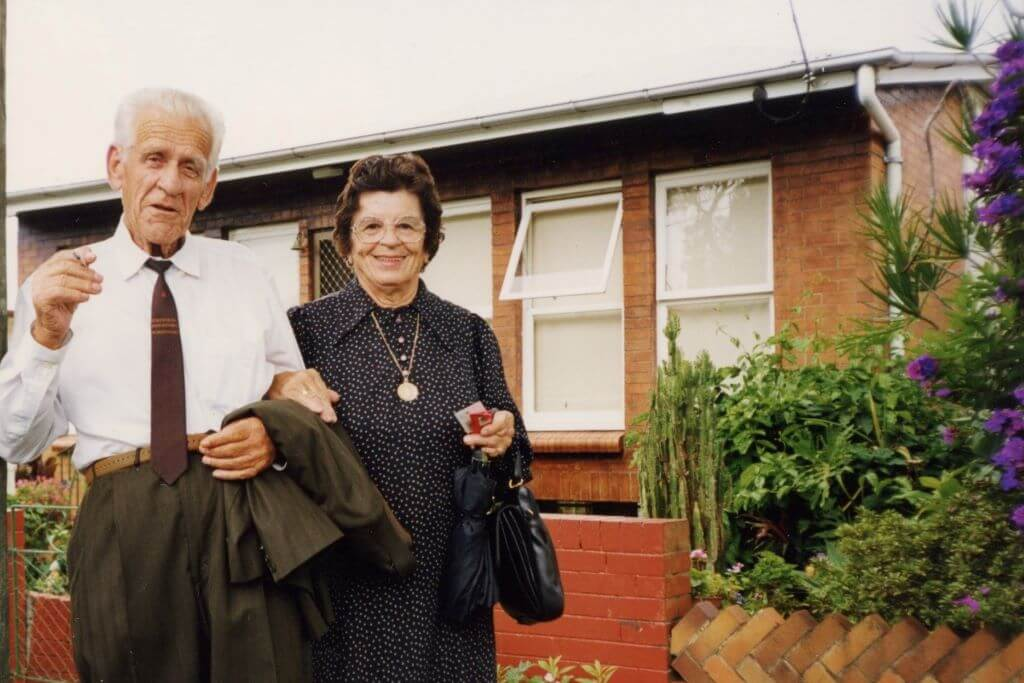 Camillo and Vilma Bianchi, outside their Paddington (Brisbane) home. Photo source: Salecich collection 1999.
