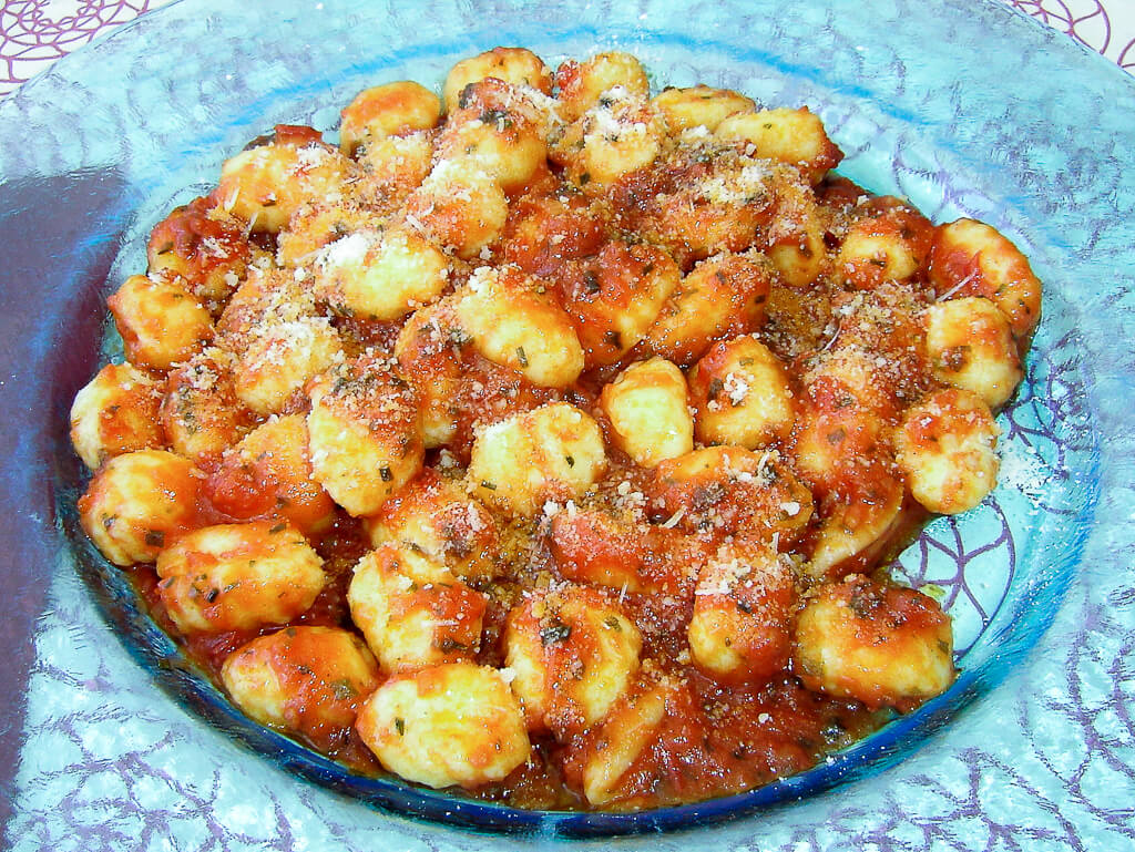 Gnocci. Served at the Hotel Cavalieri, Bra, a town in the Piedmont region of north western Italy. Photo source: Salecich collection 2006.