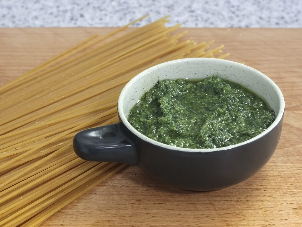 My homemade pesto, ready for dressing the pasta. Photo source: Salecich collection 2020.