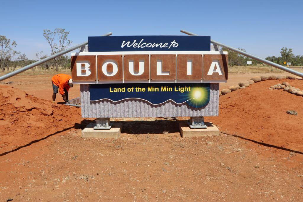 2019. Welcome to Boulia sign. Photo source: Salecich collection 2019.