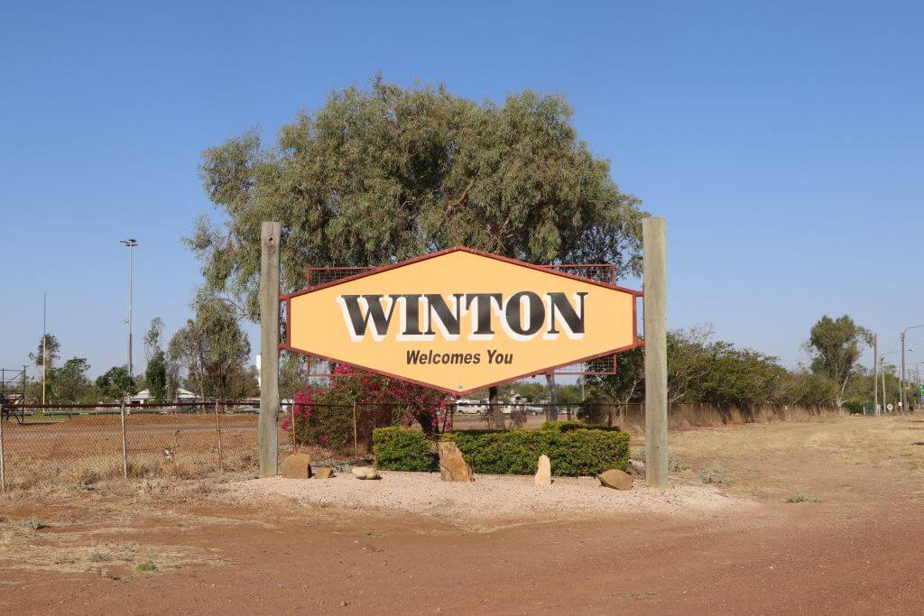 Welcome sign, Kennedy Development Road, Winton, Queensland.
